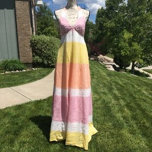 J Crew Collection Linen Halter Maxi Dress
